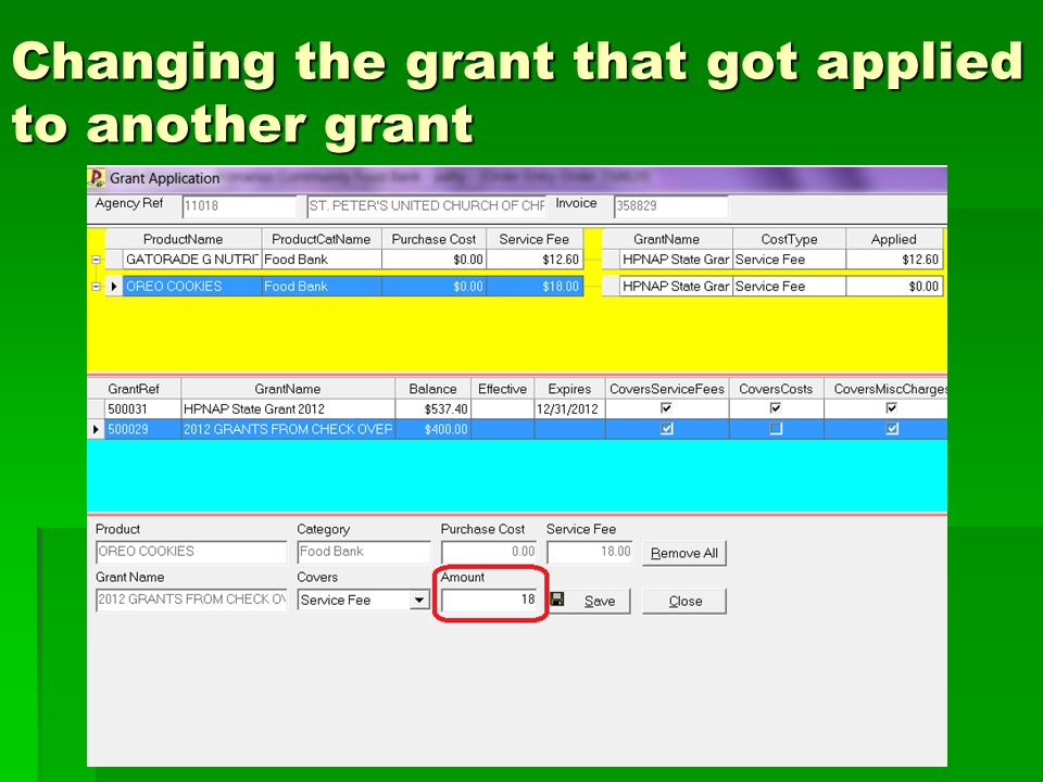 Changing the grant that got applied to another grant