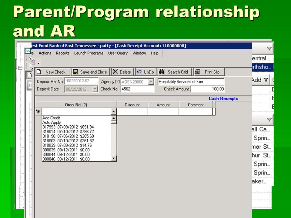Parent/Program relationship and AR