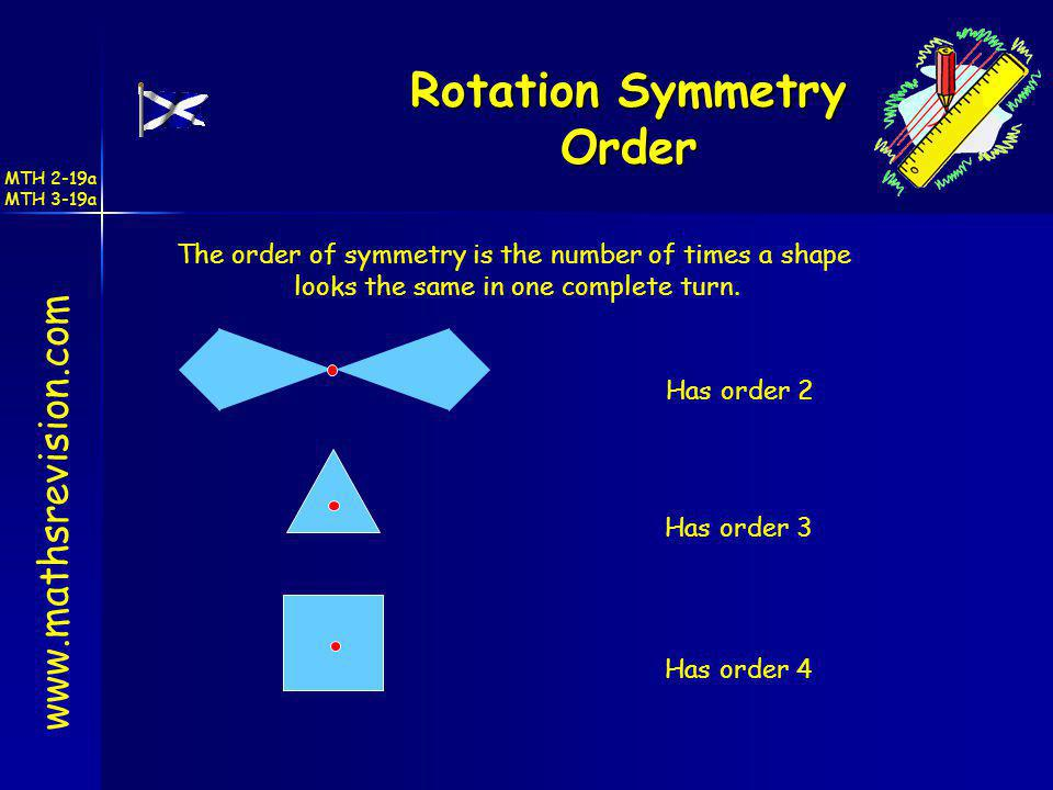 www.mathsrevision.com Rotation Symmetry Order Has order 2 Has order 3 Has order 4 The order of symmetry is the number of times a shape looks the same