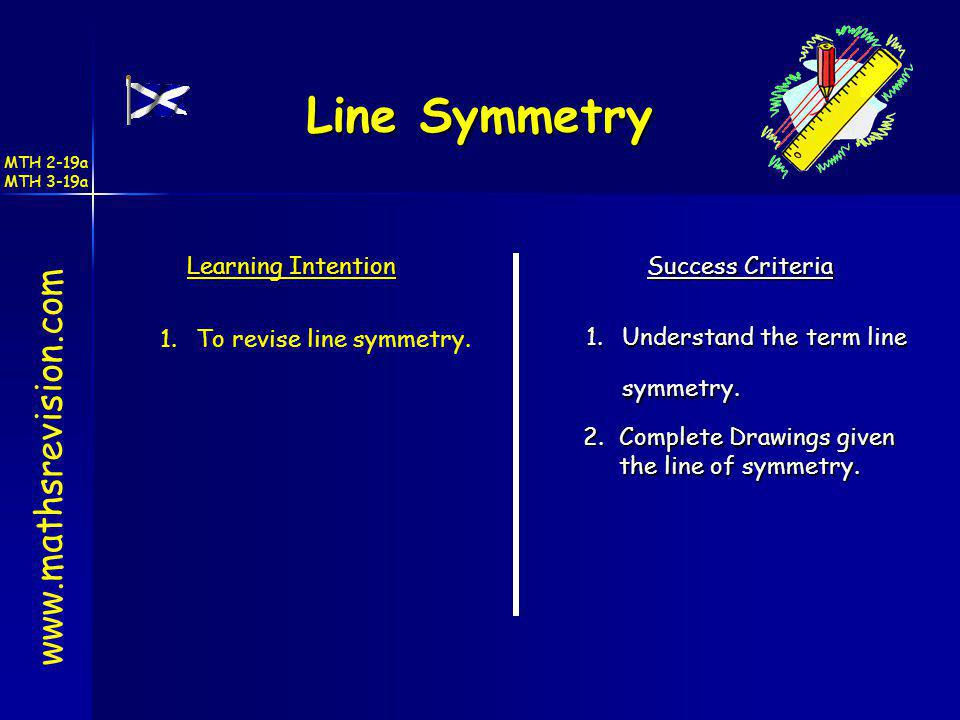 Line Symmetry www.mathsrevision.com Learning Intention Success Criteria 1.Understand the term line symmetry. 1.To revise line symmetry. 2.Complete Dra
