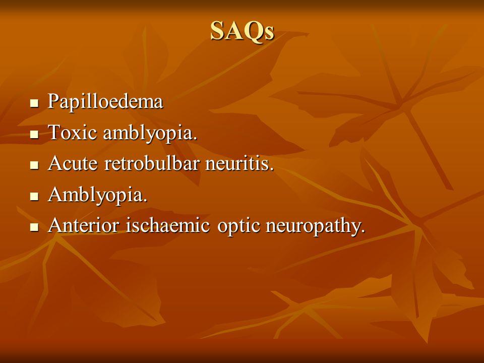 SAQs Papilloedema Papilloedema Toxic amblyopia. Toxic amblyopia. Acute retrobulbar neuritis. Acute retrobulbar neuritis. Amblyopia. Amblyopia. Anterio