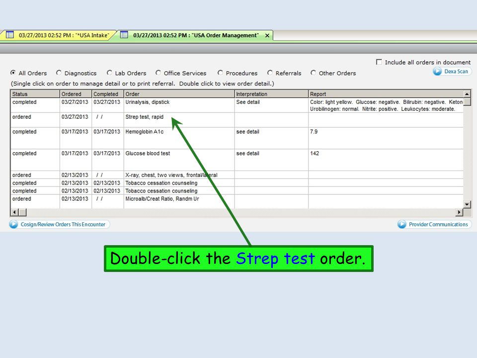 Click the Completed box.Click in the Report details box & enter the negative result.