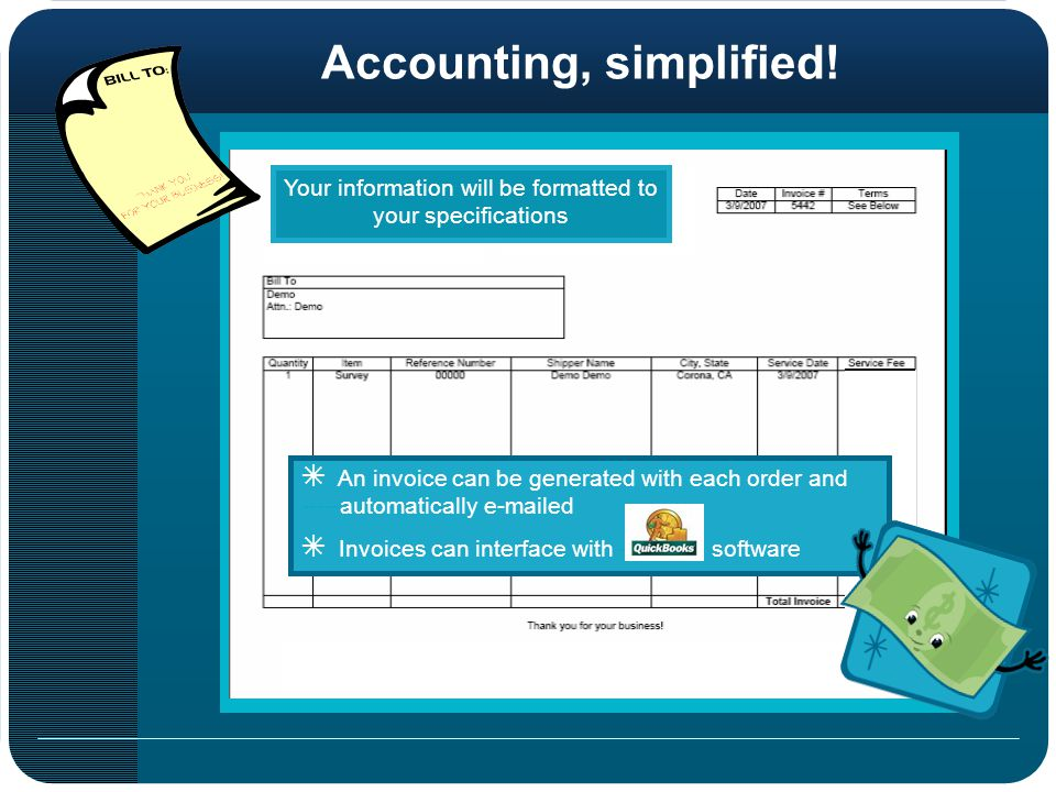 Your information will be formatted to your specifications Accounting, simplified.