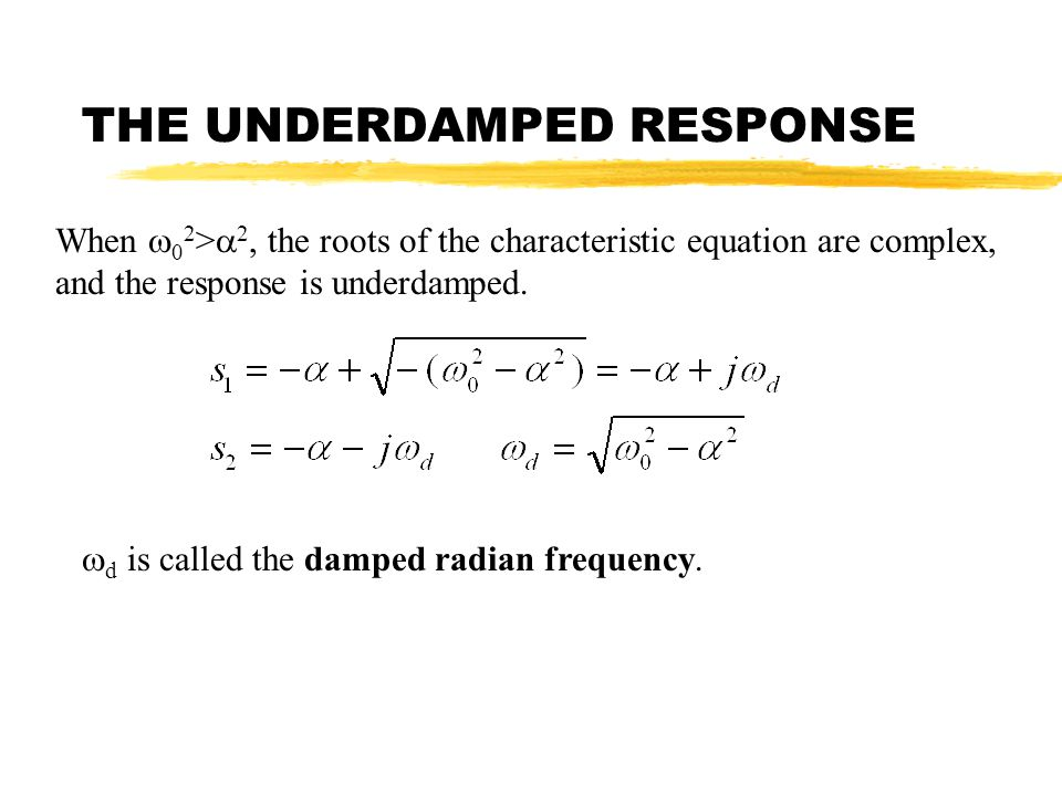 THE UNDERDAMPED RESPONSE When 0 2 > 2, the roots of the characteristic equation are complex, and the response is underdamped. d is called the damped r