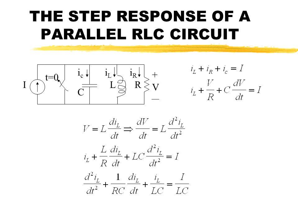 THE STEP RESPONSE OF A PARALLEL RLC CIRCUIT I C LR V + t=0 icic iLiL iRiR