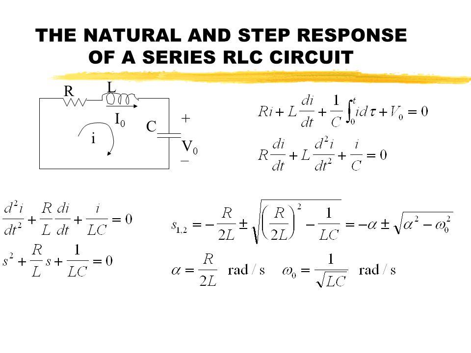 THE NATURAL AND STEP RESPONSE OF A SERIES RLC CIRCUIT R L C + V0V0 I0I0 i
