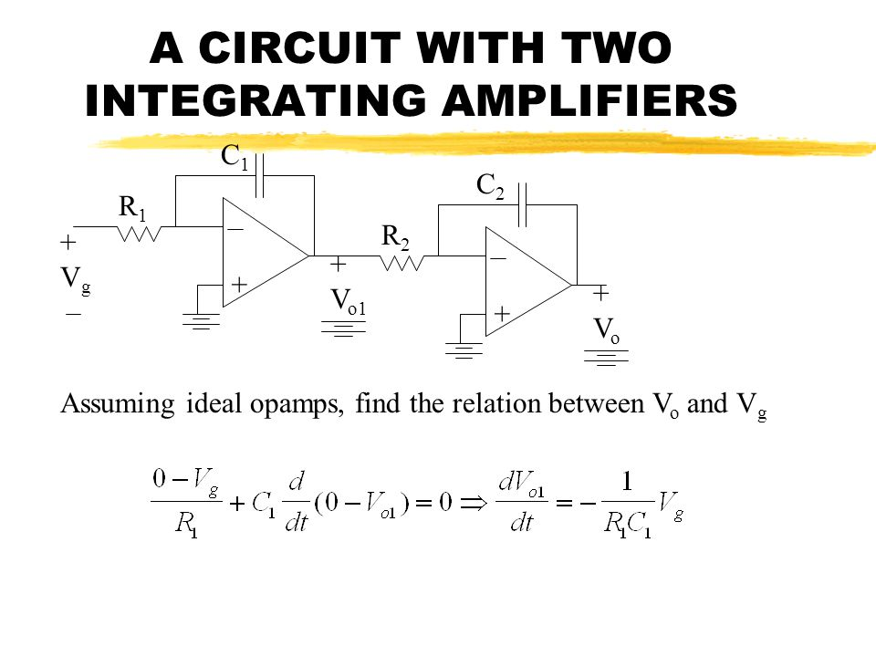 A CIRCUIT WITH TWO INTEGRATING AMPLIFIERS + + V o1 R1R1 + +Vo+Vo R2R2 C2C2 C1C1 +Vg+Vg Assuming ideal opamps, find the relation between V o and V g