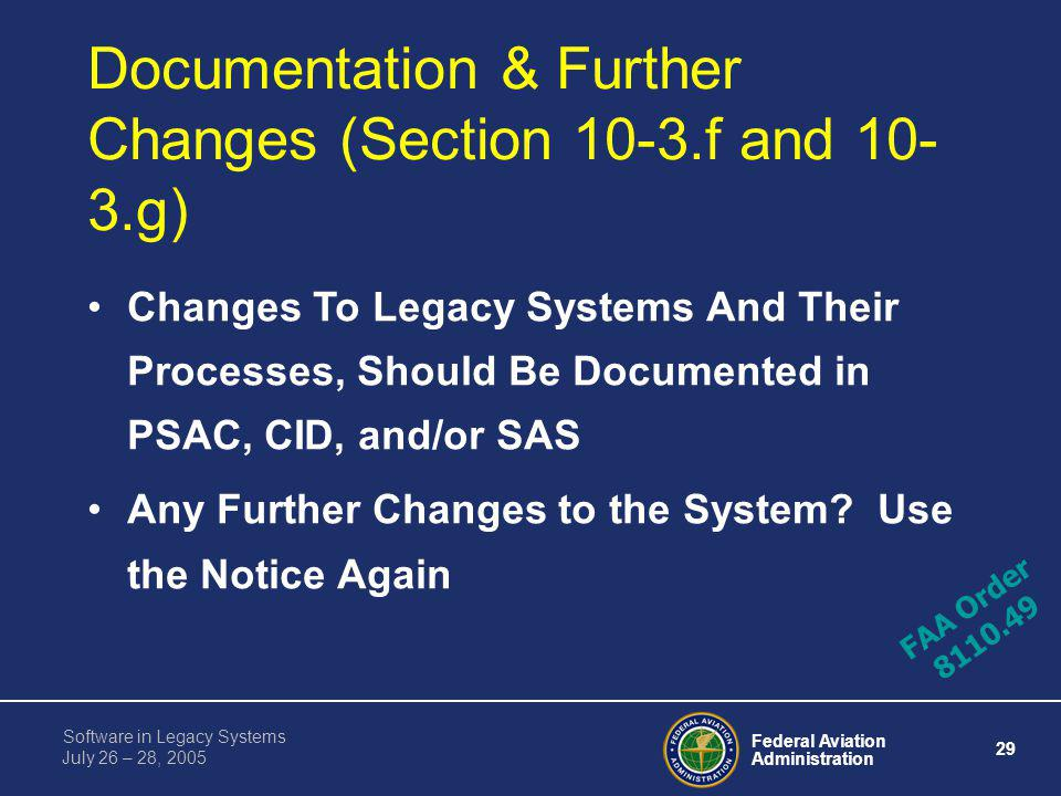 Federal Aviation Administration 28 Software in Legacy Systems July 26 – 28, 2005 Example: Assume Original TCAS II Unit Installed on a Citation XXX (Wi