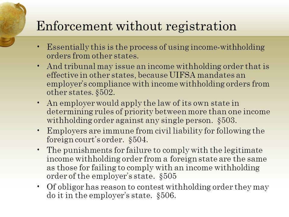 Enforcement without registration Essentially this is the process of using income-withholding orders from other states. And tribunal may issue an incom