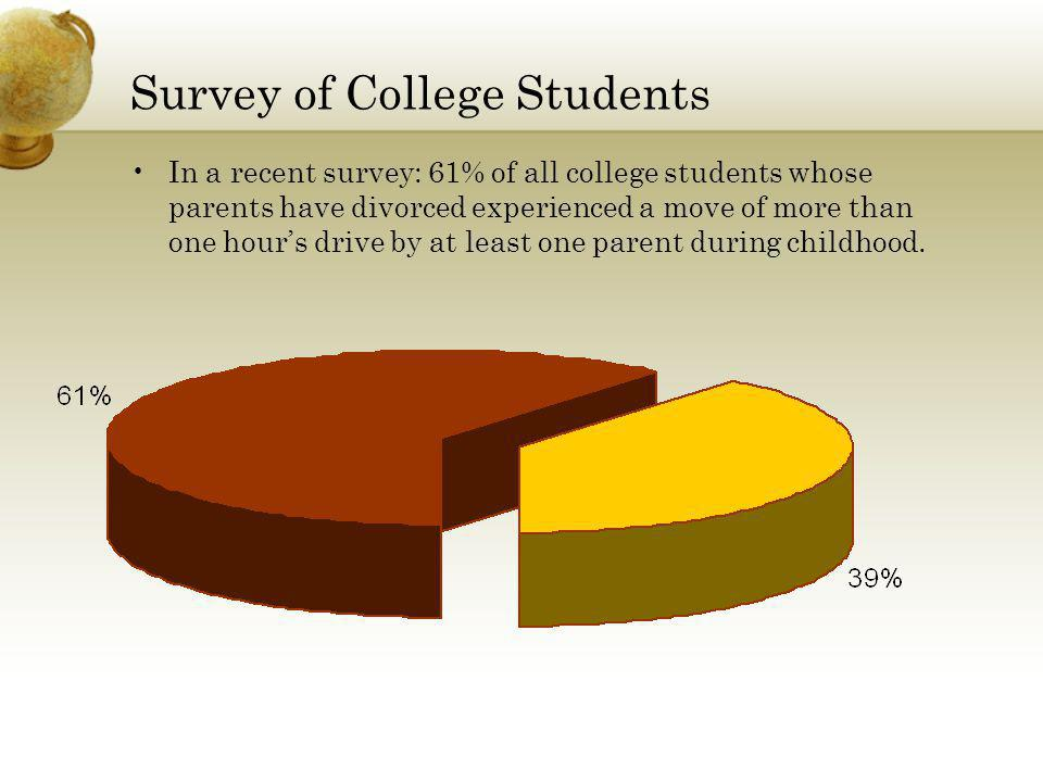 Survey of College Students In a recent survey: 61% of all college students whose parents have divorced experienced a move of more than one hours drive