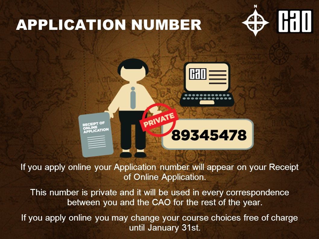 If you apply online your Application number will appear on your Receipt of Online Application. This number is private and it will be used in every cor