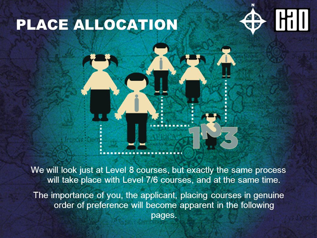 PLACE ALLOCATION We will look just at Level 8 courses, but exactly the same process will take place with Level 7/6 courses, and at the same time. The