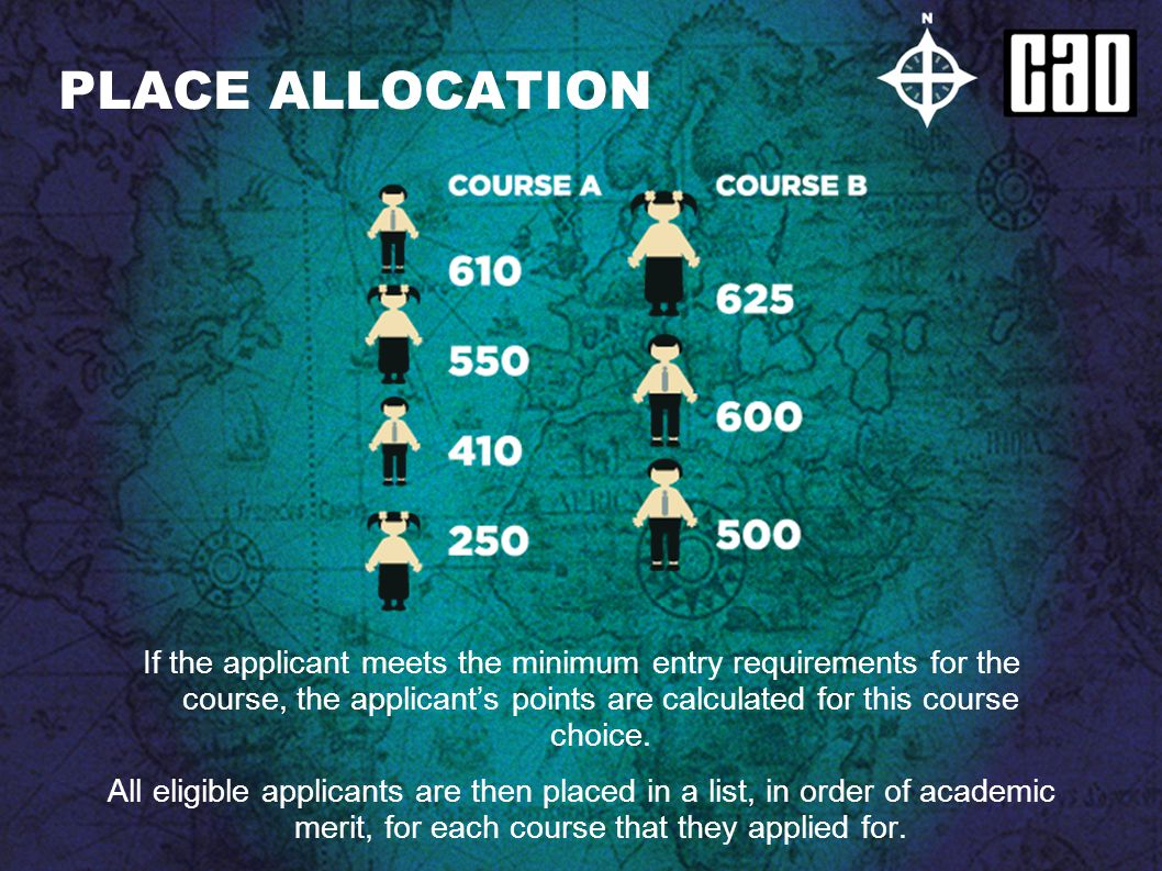 PLACE ALLOCATION If the applicant meets the minimum entry requirements for the course, the applicants points are calculated for this course choice. Al