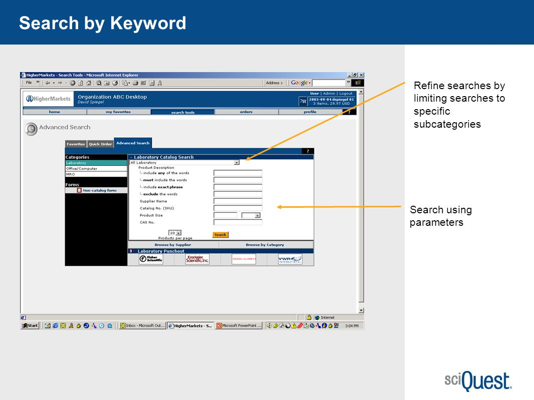 34 Search by Keyword Search using parameters Refine searches by limiting searches to specific subcategories