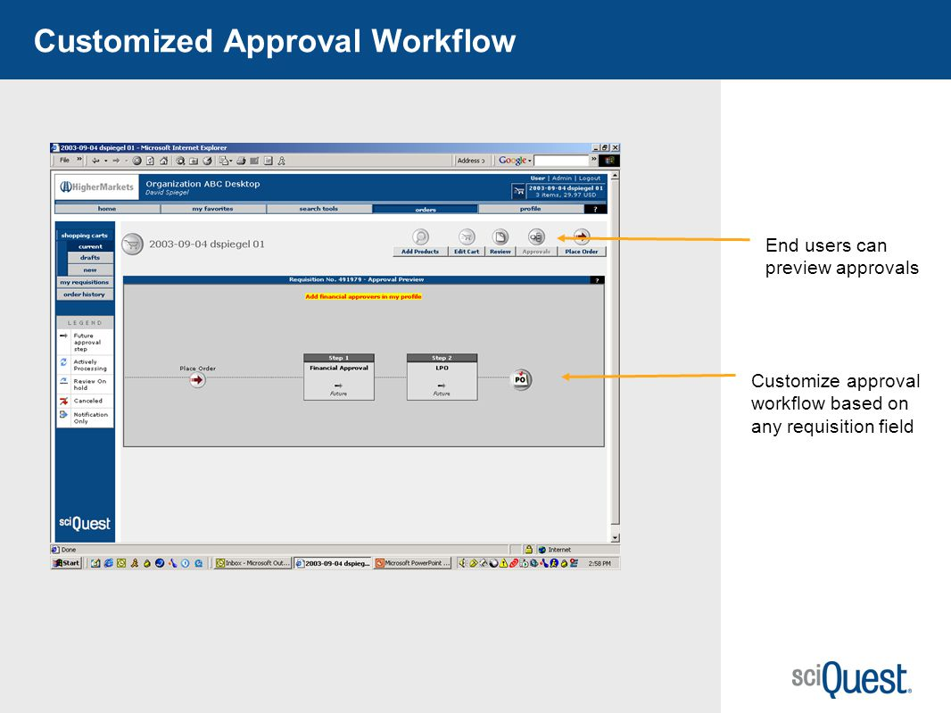 39 Customized Approval Workflow Customize approval workflow based on any requisition field End users can preview approvals
