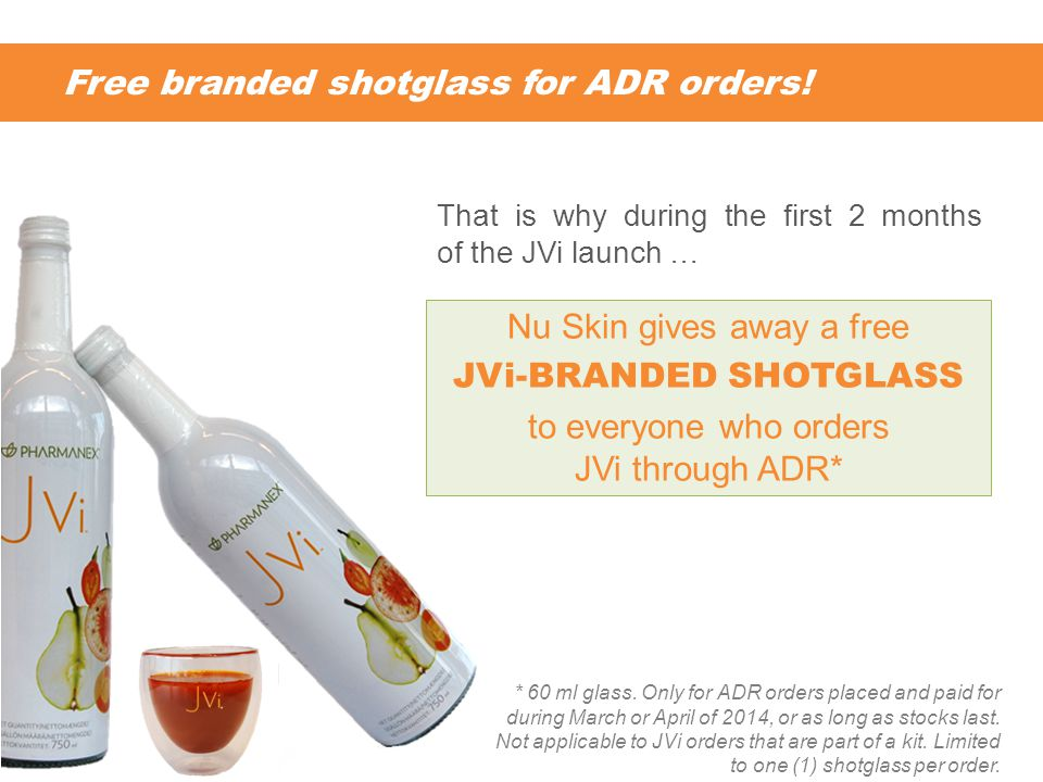 Free branded shotglass for ADR orders. * 60 ml glass.