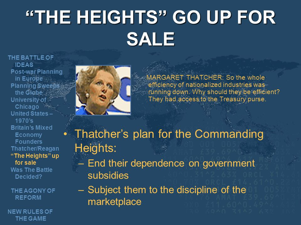 THE HEIGHTS GO UP FOR SALE MARGARET THATCHER: So the whole efficiency of nationalized industries was running down.