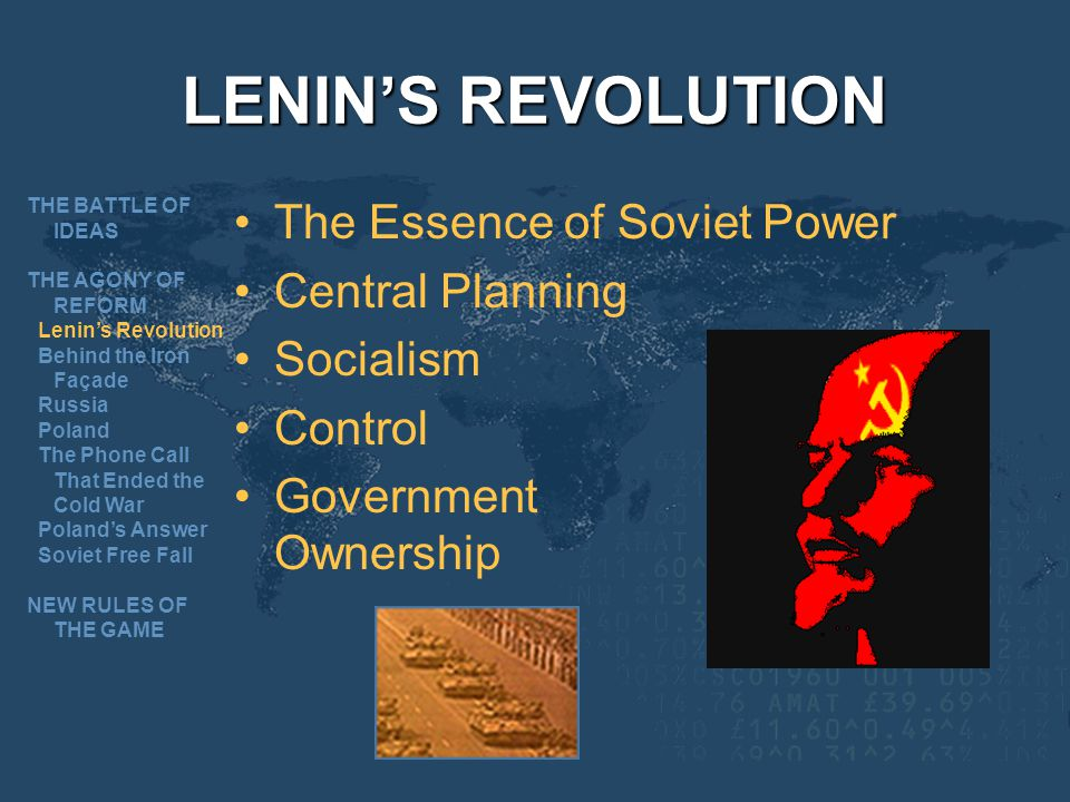 LENINS REVOLUTION The Essence of Soviet Power Central Planning Socialism Control Government Ownership THE BATTLE OF IDEAS THE AGONY OF REFORM Lenins Revolution Behind the Iron Façade Russia Poland The Phone Call That Ended the Cold War Polands Answer Soviet Free Fall NEW RULES OF THE GAME