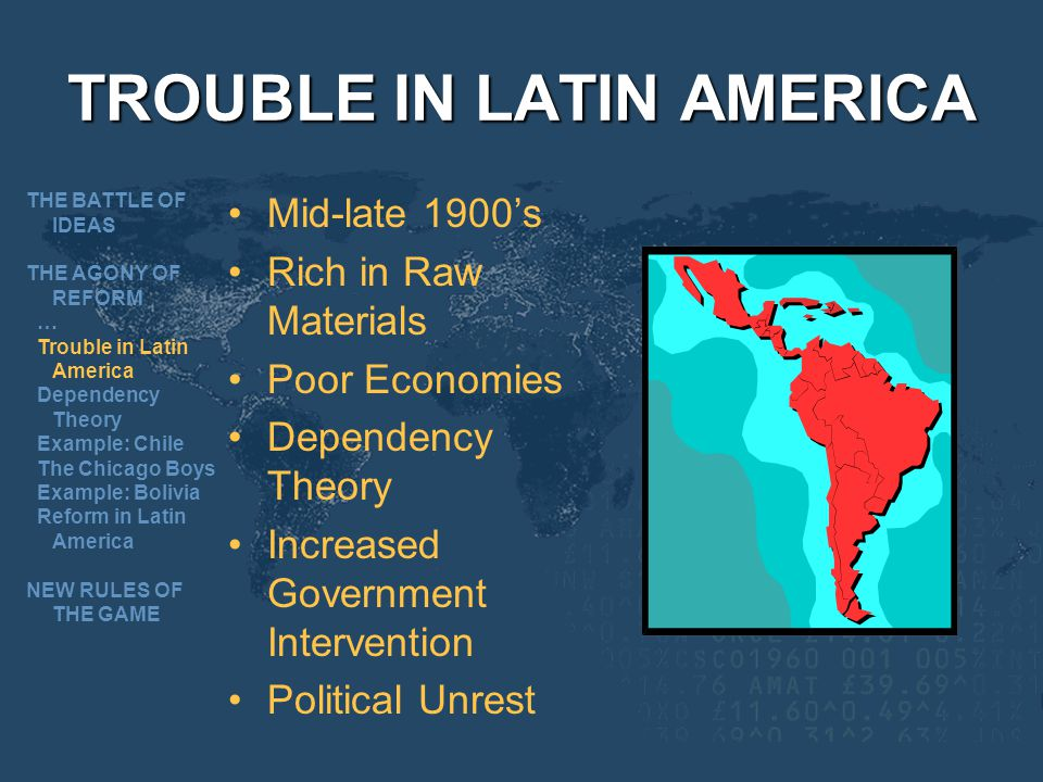 TROUBLE IN LATIN AMERICA Mid-late 1900s Rich in Raw Materials Poor Economies Dependency Theory Increased Government Intervention Political Unrest THE BATTLE OF IDEAS THE AGONY OF REFORM … Trouble in Latin America Dependency Theory Example: Chile The Chicago Boys Example: Bolivia Reform in Latin America NEW RULES OF THE GAME