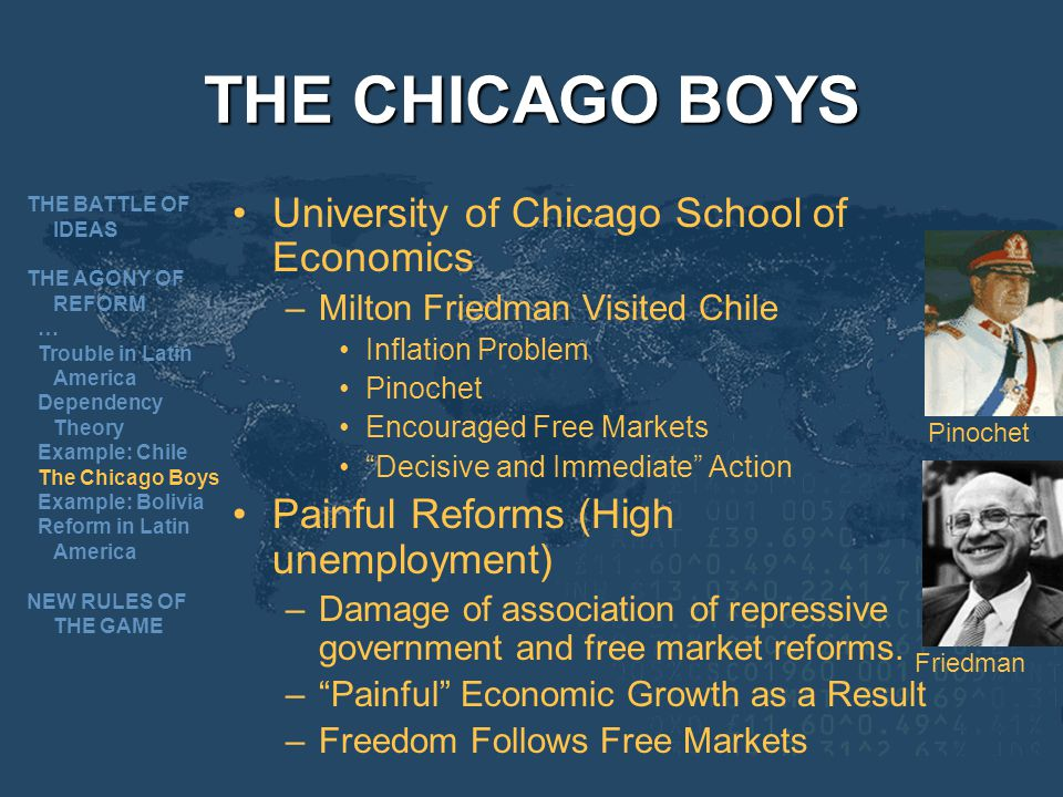 THE CHICAGO BOYS University of Chicago School of Economics –Milton Friedman Visited Chile Inflation Problem Pinochet Encouraged Free Markets Decisive and Immediate Action Painful Reforms (High unemployment) –Damage of association of repressive government and free market reforms.