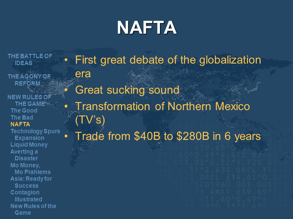 NAFTA First great debate of the globalization era Great sucking sound Transformation of Northern Mexico (TVs) Trade from $40B to $280B in 6 years THE BATTLE OF IDEAS THE AGONY OF REFORM NEW RULES OF THE GAME The Good The Bad NAFTA Technology Spurs Expansion Liquid Money Averting a Disaster Mo Money, Mo Prahlems Asia: Ready for Success Contagion Illustrated New Rules of the Game