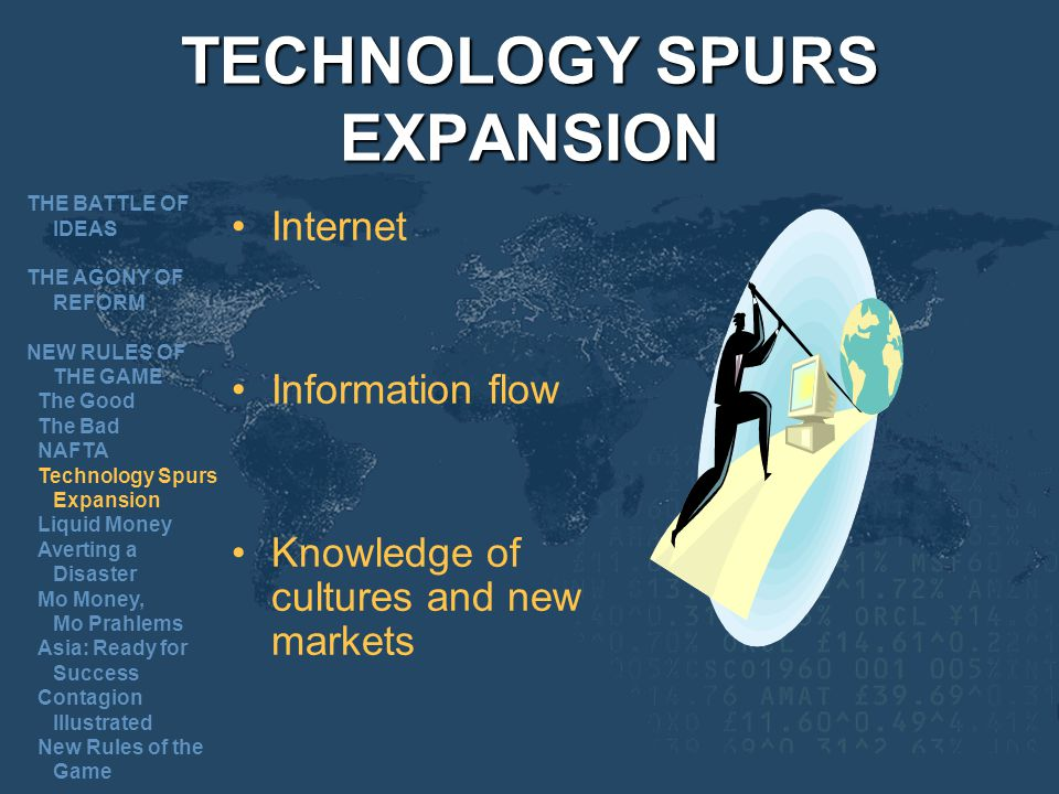 TECHNOLOGY SPURS EXPANSION Internet Information flow Knowledge of cultures and new markets THE BATTLE OF IDEAS THE AGONY OF REFORM NEW RULES OF THE GAME The Good The Bad NAFTA Technology Spurs Expansion Liquid Money Averting a Disaster Mo Money, Mo Prahlems Asia: Ready for Success Contagion Illustrated New Rules of the Game