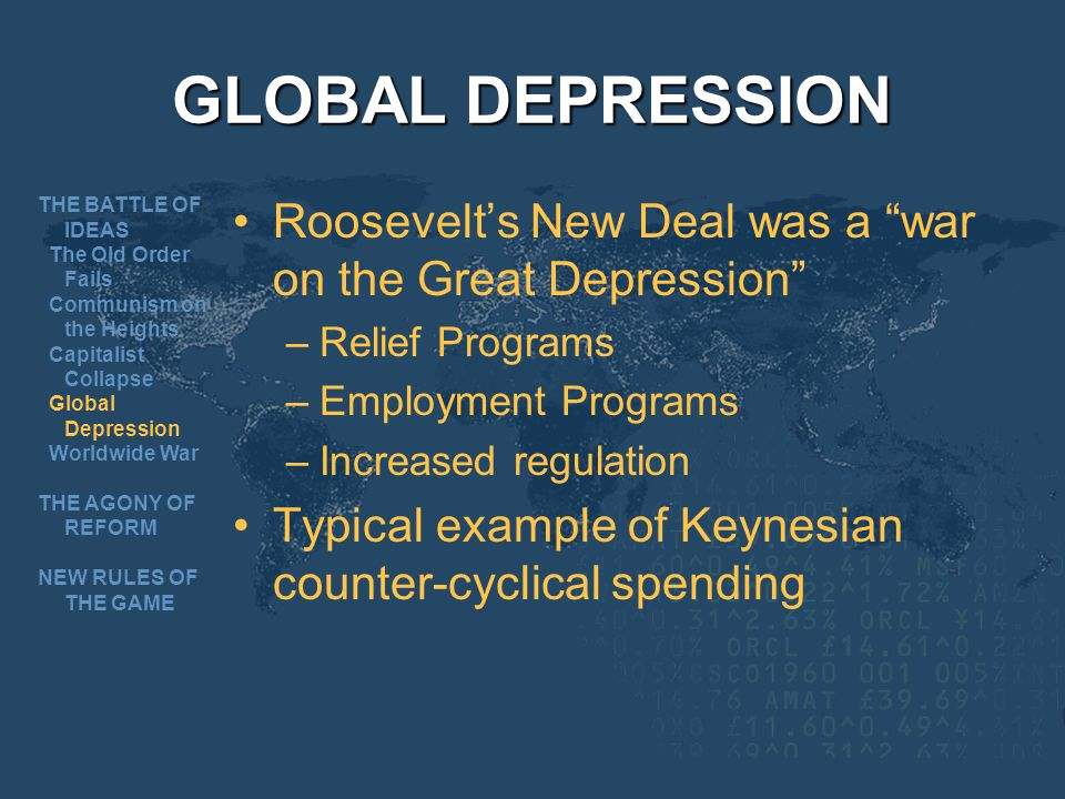 GLOBAL DEPRESSION Roosevelts New Deal was a war on the Great Depression –Relief Programs –Employment Programs –Increased regulation Typical example of Keynesian counter-cyclical spending THE BATTLE OF IDEAS The Old Order Fails Communism on the Heights Capitalist Collapse Global Depression Worldwide War THE AGONY OF REFORM NEW RULES OF THE GAME