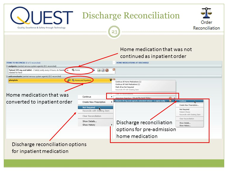 23 Discharge Reconciliation Home medication that was converted to inpatient order Home medication that was not continued as inpatient order Discharge reconciliation options for pre-admission home medication Discharge reconciliation options for inpatient medication