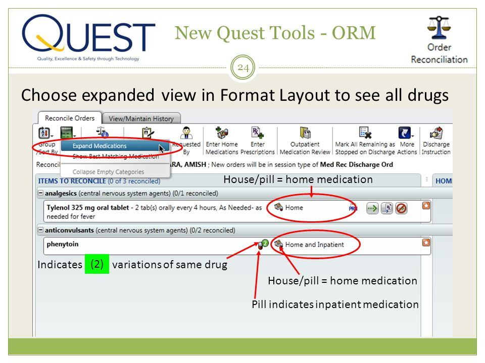 24 New Quest Tools - ORM Choose expanded view in Format Layout to see all drugs Pill indicates inpatient medication House/pill = home medication Indic