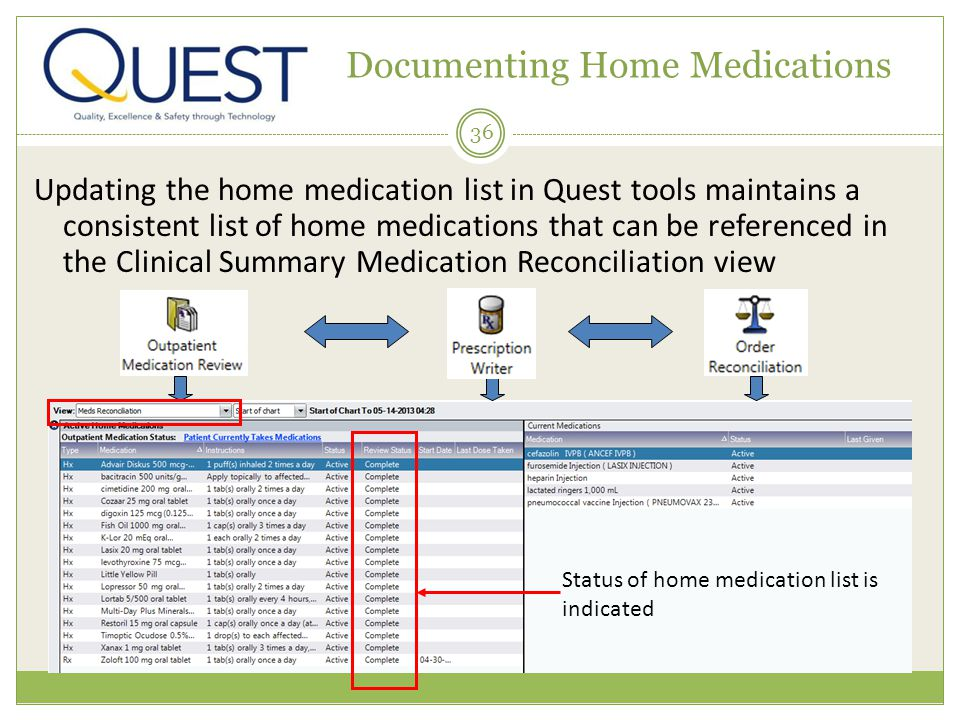 36 Documenting Home Medications Updating the home medication list in Quest tools maintains a consistent list of home medications that can be referenced in the Clinical Summary Medication Reconciliation view Status of home medication list is indicated