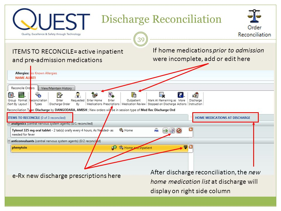 39 Discharge Reconciliation If home medications prior to admission were incomplete, add or edit here After discharge reconciliation, the new home medi