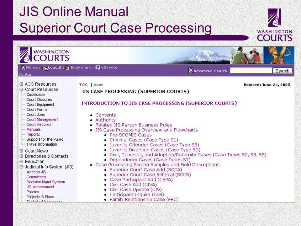 c JIS Online Manual Superior Court Case Processing