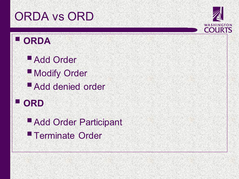 c ORDA vs ORD ORDA Add Order Modify Order Add denied order ORD Add Order Participant Terminate Order