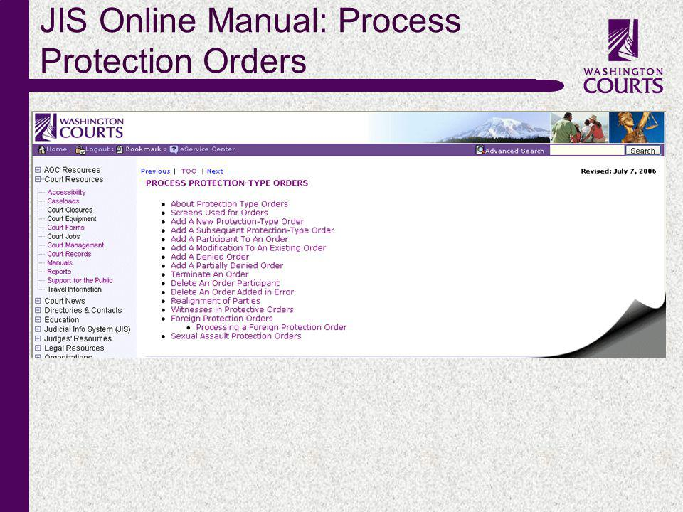 c JIS Online Manual: Process Protection Orders
