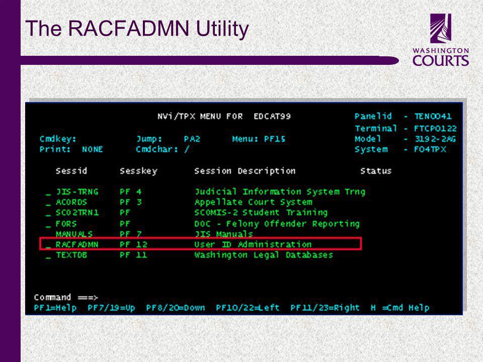 c The RACFADMN Utility