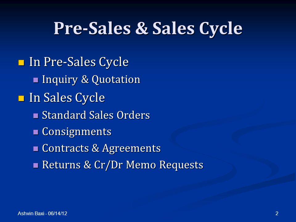 Ashvin Baxi - 06/14/12 2 Pre-Sales & Sales Cycle In Pre-Sales Cycle In Pre-Sales Cycle Inquiry & Quotation Inquiry & Quotation In Sales Cycle In Sales