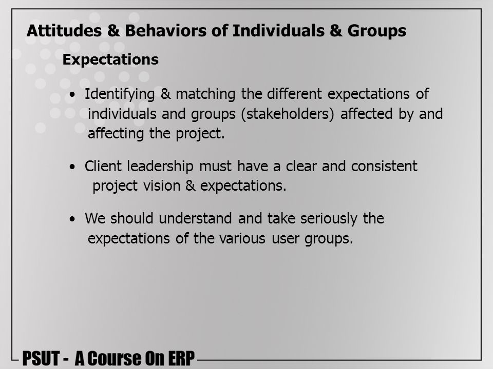 Attitudes & Behaviors of Individuals & Groups Expectations Identifying & matching the different expectations of individuals and groups (stakeholders)