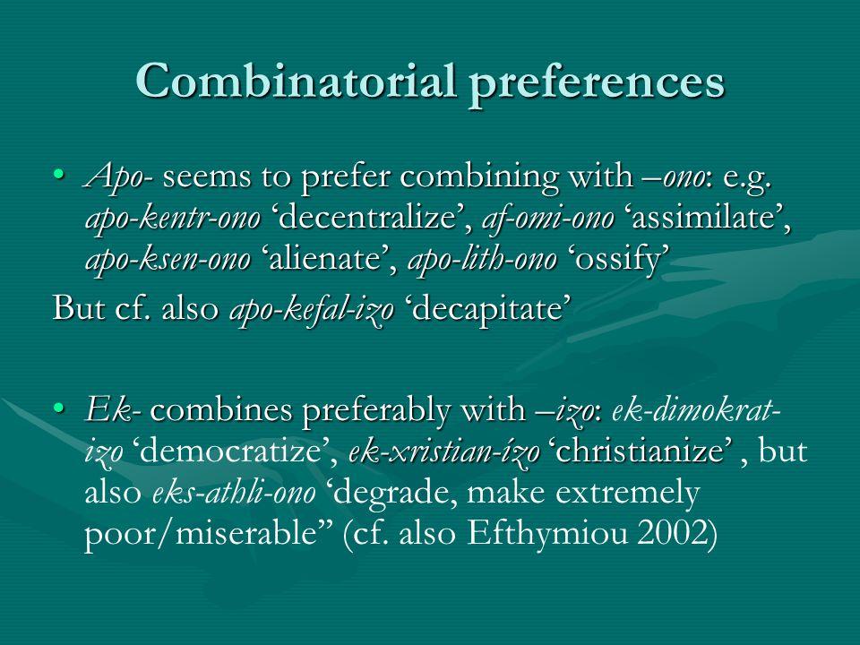 Combinatorial preferences Apo- seems to prefer combining with –ono: e.g. apo-kentr-ono decentralize, af-omi-ono assimilate, apo-ksen-ono alienate, apo