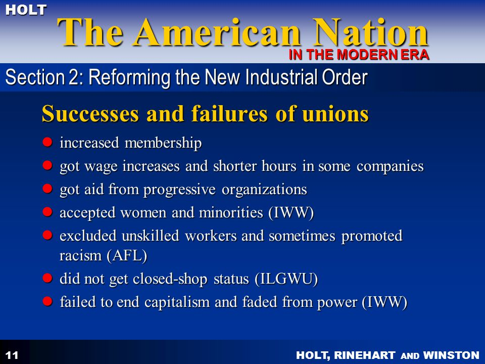 HOLT, RINEHART AND WINSTON The American Nation HOLT IN THE MODERN ERA 11 Successes and failures of unions increased membership increased membership go