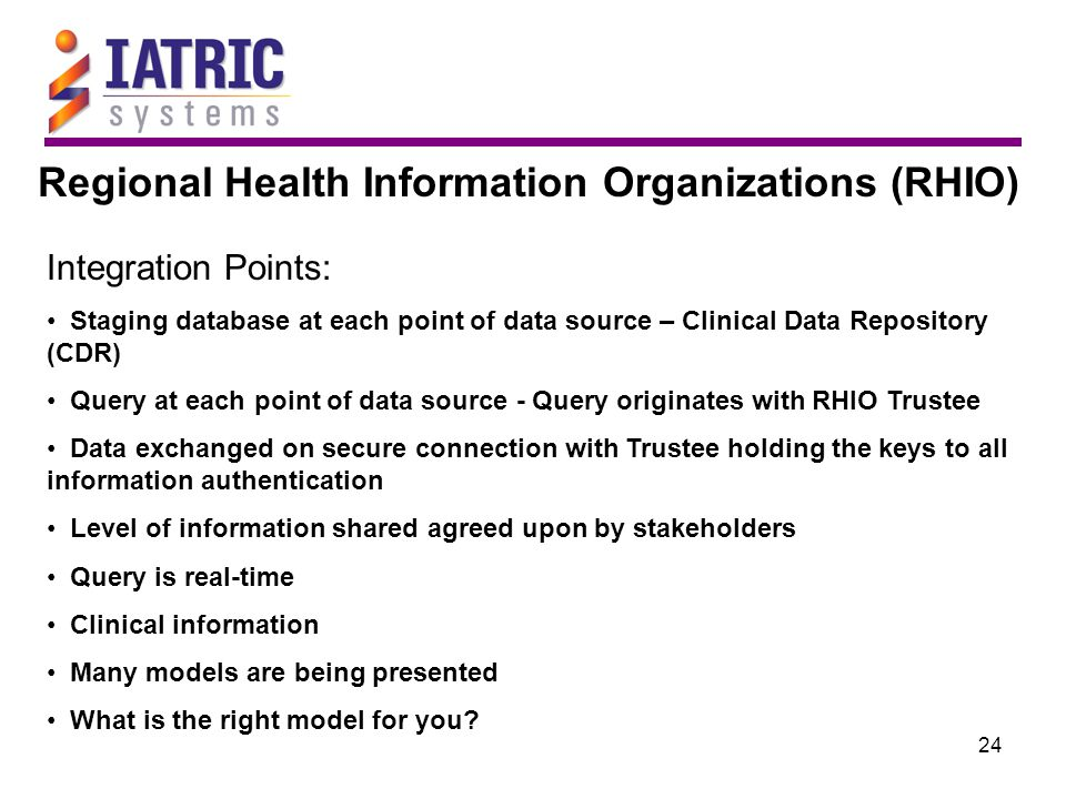 24 Regional Health Information Organizations (RHIO) Integration Points: Staging database at each point of data source – Clinical Data Repository (CDR)