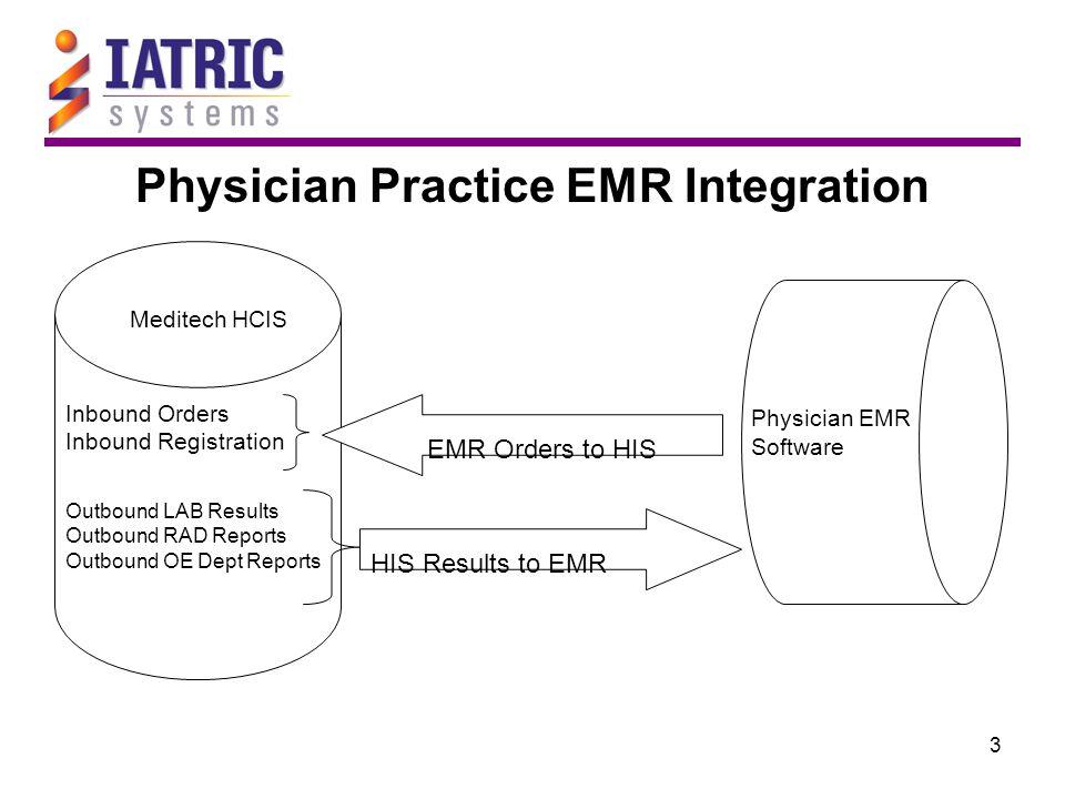 3 Physician Practice EMR Integration Meditech HCIS Physician EMR Software Inbound Orders Inbound Registration Outbound LAB Results Outbound RAD Reports Outbound OE Dept Reports EMR Orders to HIS HIS Results to EMR