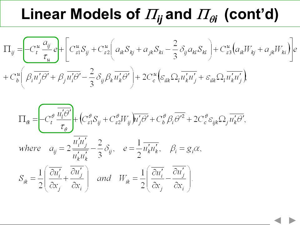 Linear Models of ij and i (contd)
