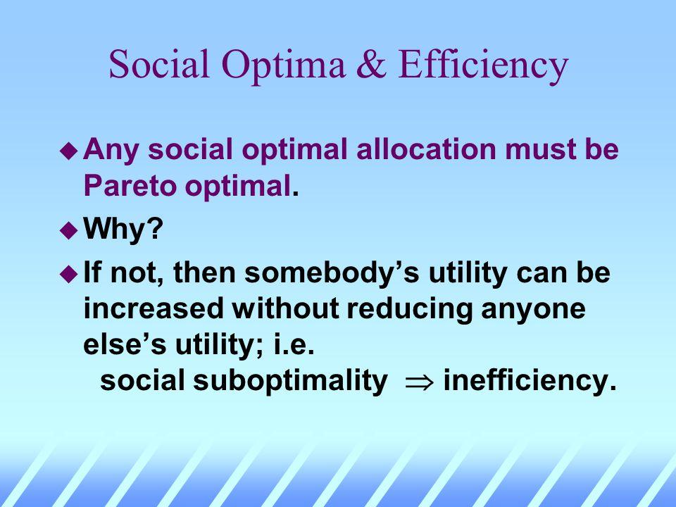 Social Optima & Efficiency u Any social optimal allocation must be Pareto optimal. u Why?