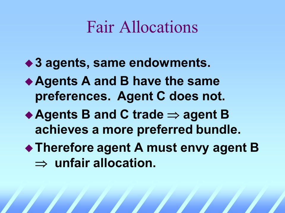 Fair Allocations u Must equal endowments create fair allocations? u No. Why not?