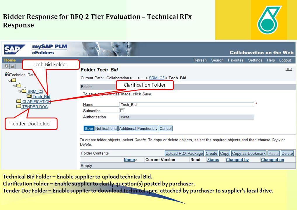 Bidder Response for RFQ 2 Tier Evaluation – Technical RFx Response Tender Doc Folder Tech Bid Folder Clarification Folder Technical Bid Folder – Enabl