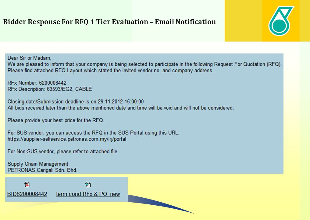 Bidder Response For RFQ 1 Tier Evaluation – Login Screen Supplier is required to login to SUS portal 1.Enter User ID 2.Enter Password 3.Click Log on