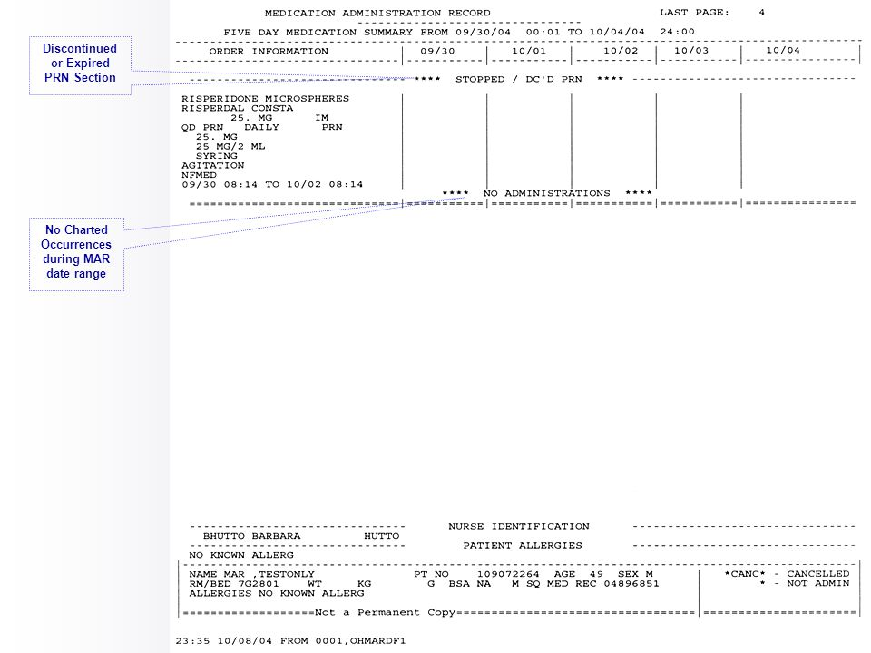 Discontinued or Expired Scheduled IV Orders Section SITE = Charted data for Site of Administration Example of IV Order