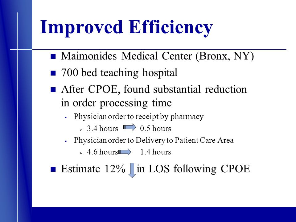Improved Efficiency Maimonides Medical Center (Bronx, NY) 700 bed teaching hospital After CPOE, found substantial reduction in order processing time Physician order to receipt by pharmacy 3.4 hours 0.5 hours Physician order to Delivery to Patient Care Area 4.6 hours 1.4 hours Estimate 12% in LOS following CPOE