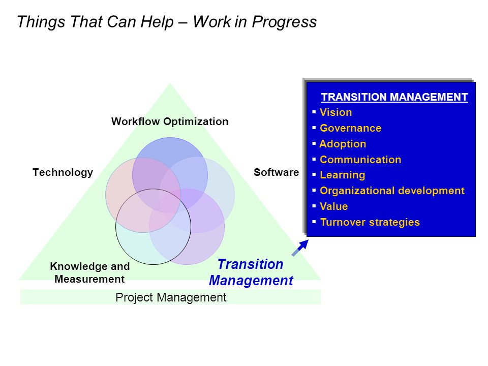 TRANSITION MANAGEMENT Vision Governance Adoption Communication Learning Organizational development Value Turnover strategies Project Management Things That Can Help – Work in Progress