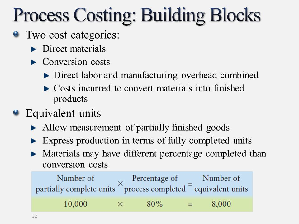 Two cost categories: Direct materials Conversion costs Direct labor and manufacturing overhead combined Costs incurred to convert materials into finis